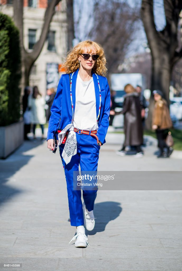 Elina Halimi wearing a blue suit, white tshirt outside Armani during Milan Fashion Week Fall/Winter 2017/18 on February 27, 2017 in Milan, Italy.