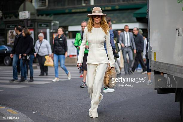 Elina Halimi wearing Stella McCartney and Maisonmichel hat after Stella McCartney during the Paris Fashion Week Womenswear Spring/Summer 2016 on...