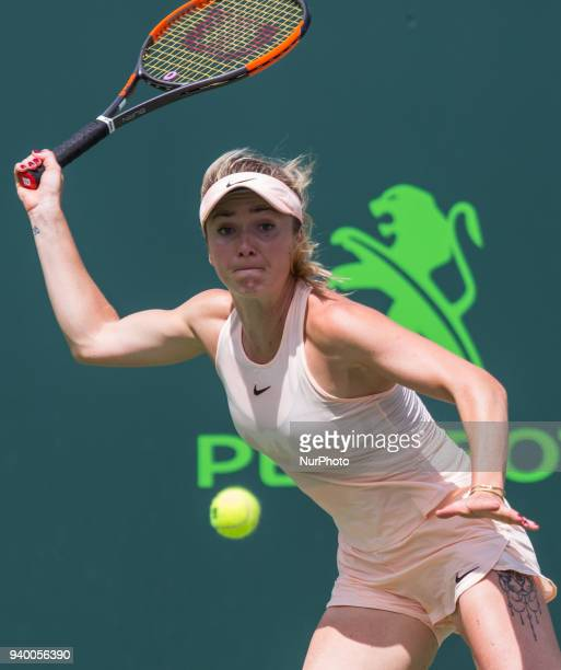 Elina Svetolina from Ukraine in action against Jelena Ostapenko from Latvia during her quater final match at the Miami Open Ostapenko defeated...