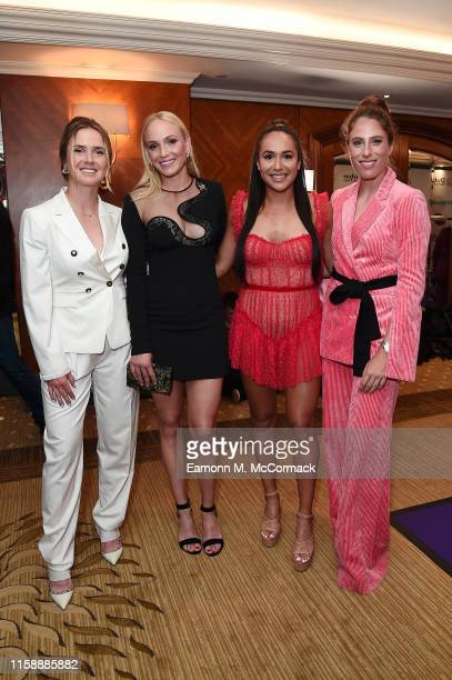 Elina Svitolina, Donna Vekic, Heather Watson and Johanna Konta pose for a photo during the Dubai Duty Free WTA Summer Party 2019 at Jumeirah Carlton...