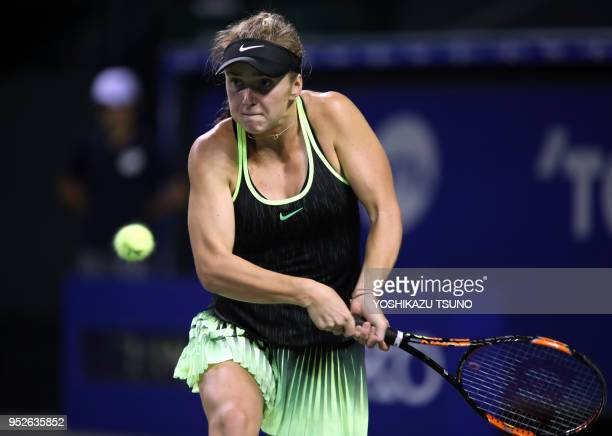 Elina Svitolina during the quarter finals of the Toray Pan Pacific Open tennis championships in Tokyo on September 23 2016 Svitolina defeated...
