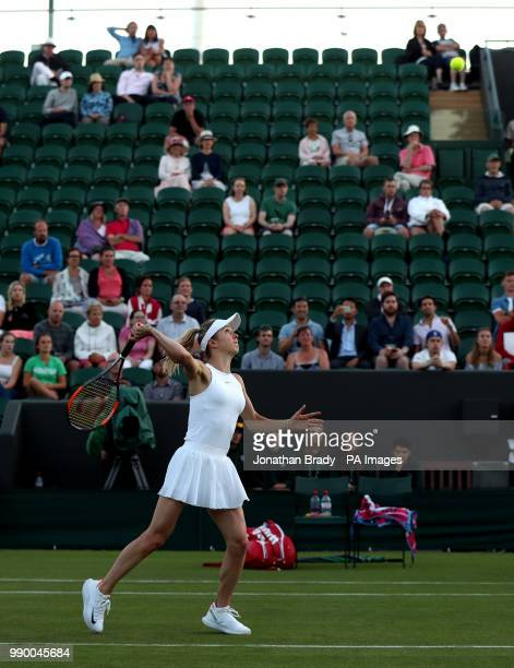 Elina Svitolina in action on day One of the Wimbledon Championships at the All England Lawn Tennis and Croquet Club Wimbledon