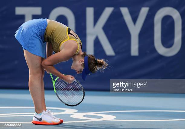 Elina Svitolina of Team Ukraine ce during her Women's Singles Second Round match against Ajla Tomljanovic of Team Australia on day three of the Tokyo...