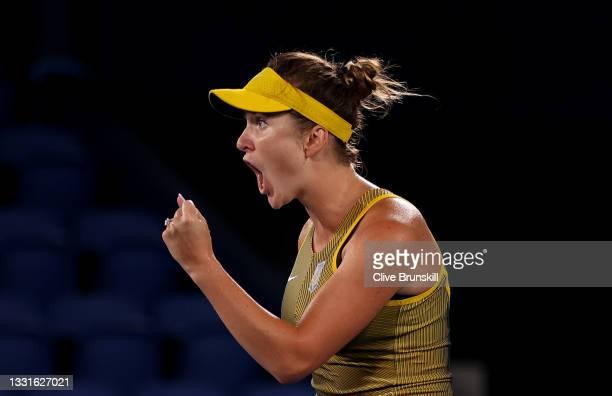 Elina Svitolina of Team Ukraine celebrates after a point in her Women's Singles Bronze Medal match against Elena Rybakina of Team Kazakhstan on day...