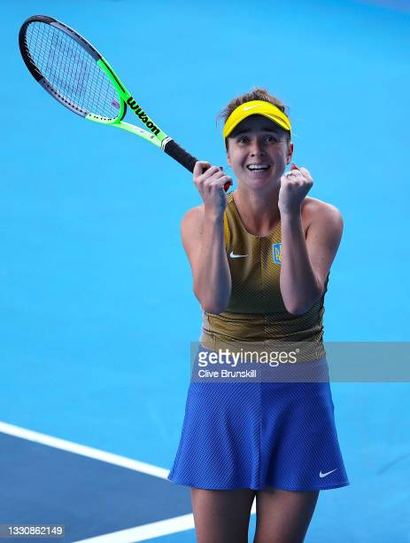 Elina Svitolina of Team Ukraine celebrates after match point during her Women's Singles Third Round match against Maria Sakkari of Team Greece on day...