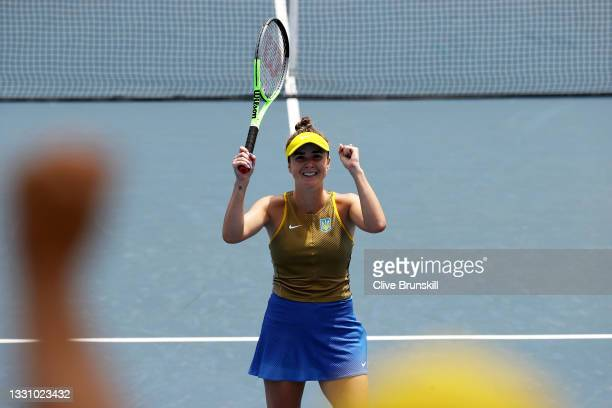 Elina Svitolina of Team Ukraine celebrates after match point during her Women's Singles Quarterfinal match against Camila Giorgi of Team Italy on day...