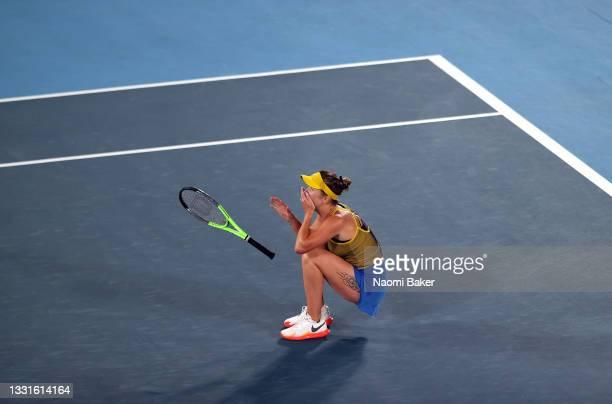 Elina Svitolina of Team Ukraine celebrates victory in her Women's Singles Bronze Medal match against Elena Rybakina of Team Kazakhstan on day eight...