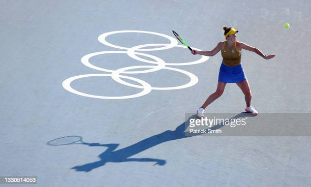 Elina Svitolina of Team Ukraine plays a forehand during her Women's Singles First Round match against Laura Siegemund of Team Germany on day two of...