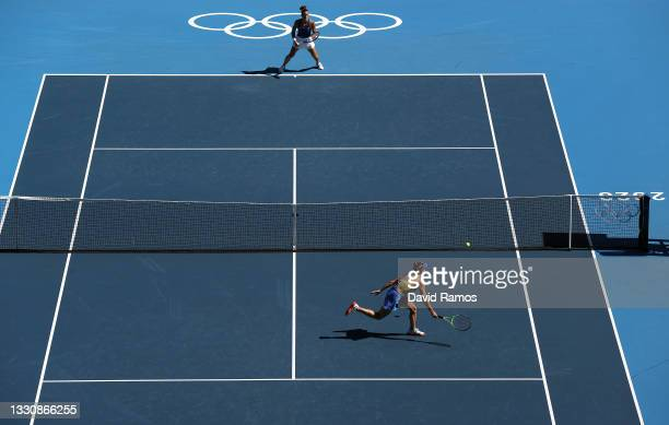Elina Svitolina of Team Ukraine plays a forehand during her Women's Singles Third Round match against Maria Sakkari of Team Greece on day four of the...
