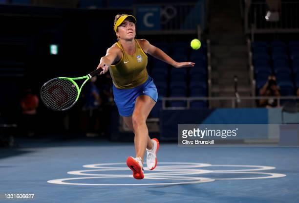 Elina Svitolina of Team Ukraine plays a forehand during her Women's Singles Bronze Medal match against Elena Rybakina of Team Kazakhstan on day eight...