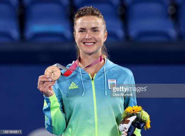 Elina Svitolina of Team Ukraine smiles with her bronze medal from on the podium during the medal ceremony after the Women's Singles Gold Medal match...