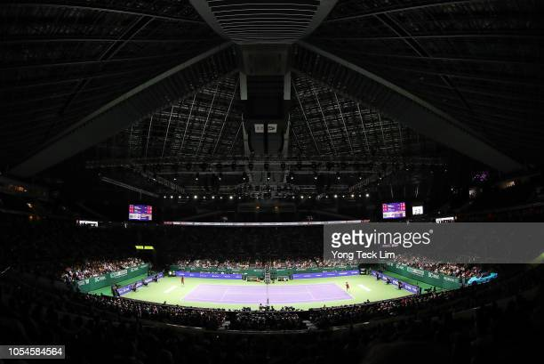 Elina Svitolina of the Ukraine against Sloane Stephens of the United States during the Women's singles final match on Day 8 of the BNP Paribas WTA...