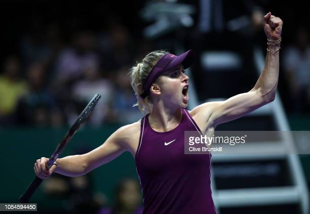 Elina Svitolina of the Ukraine celebrates a point against Sloane Stephens of the United States during the Women's singles final match on Day 8 of the...