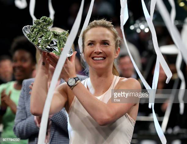 Elina Svitolina of the Ukraine celebrates her win of the Tie Break Tens at Madison Square Garden on March 5 2018 in New York City