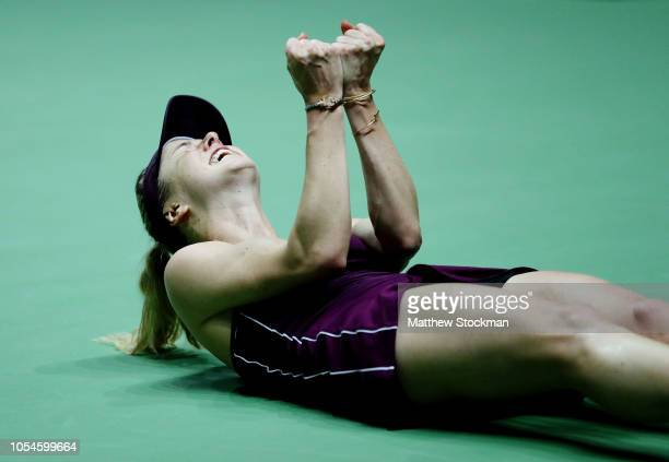 Elina Svitolina of the Ukraine celebrates match point against Sloane Stephens of the United States during the Women's singles final match on Day 8 of...