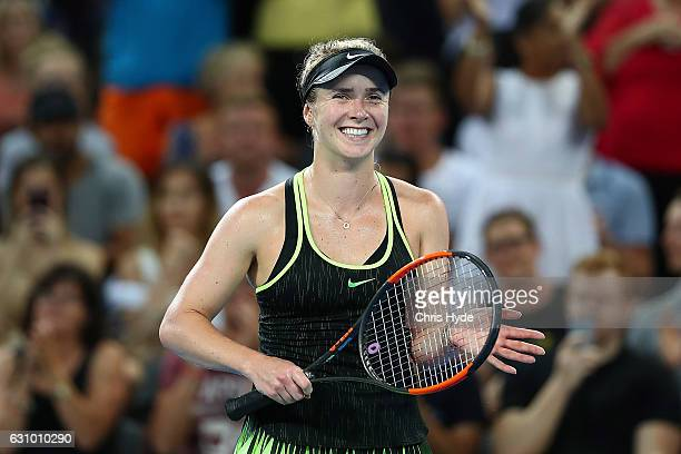 Elina Svitolina of the Ukraine celebrates winning her quarter final match against Angelique Kerber of Germany during day five of the 2017 Brisbane...