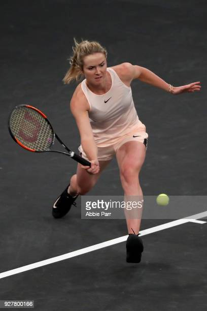 Elina Svitolina of the Ukraine competes against Shuai Zhang in the championship round of the Tie Break Tens at Madison Square Garden on March 5 2018...