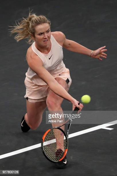 Elina Svitolina of the Ukraine competes against Shuai Zhang of China in the championship round of the Tie Break Tens at Madison Square Garden on...