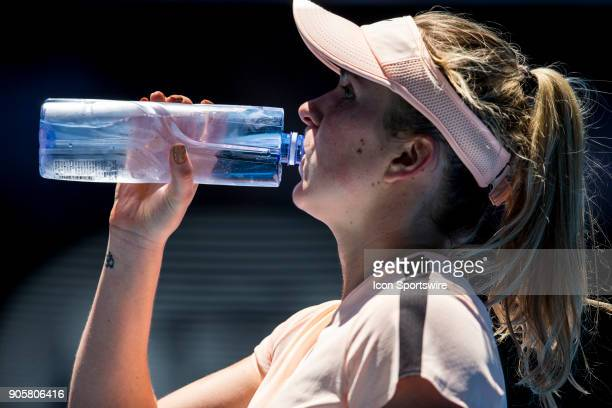 Elina Svitolina of the Ukraine drinks water in her Second Round match during the 2018 Australian Open on January 17 at Melbourne Park Tennis Centre...