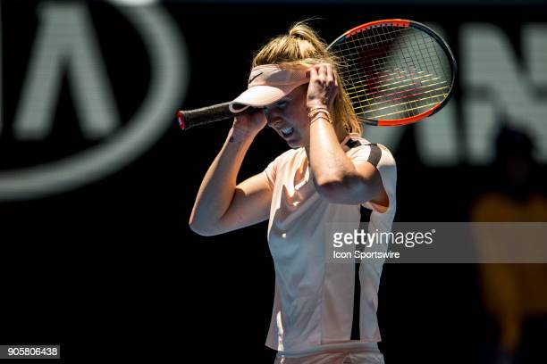 Elina Svitolina of the Ukraine hides her frustration in her Second Round match during the 2018 Australian Open on January 17 at Melbourne Park Tennis...