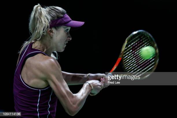 Elina Svitolina of the Ukraine hits a return against Kiki Bertens of the Netherlands during the women's singles semi final match on Day 7 of the BNP...