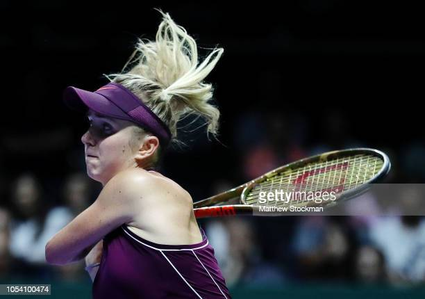 Elina Svitolina of the Ukraine plays a backhand against Kiki Bertens of the Netherlands during the women's singles semi final match on Day 7 of the...