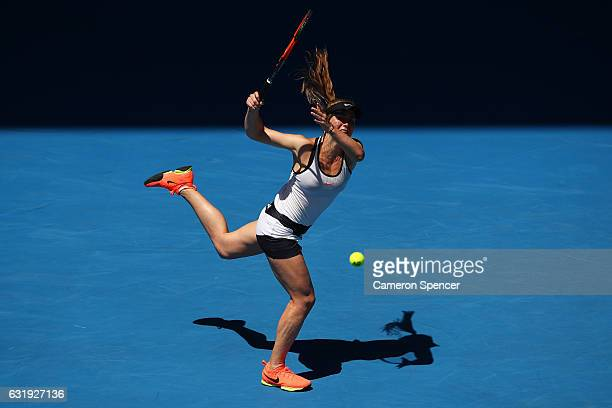 Elina Svitolina of the Ukraine plays a backhand in her second round match against Julia Boserup of the United States on day three of the 2017...