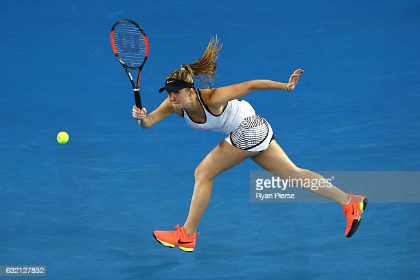Elina Svitolina of the Ukraine plays a forehand in her third round match against Anastasia Pavlyuchenkova of Russia on day five of the 2017...
