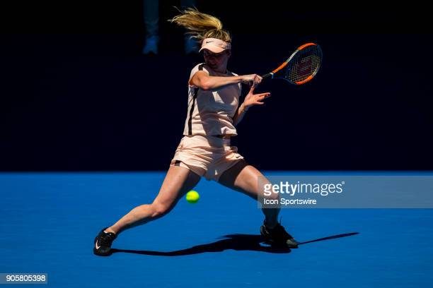 Elina Svitolina of the Ukraine plays a shot in her Second Round match during the 2018 Australian Open on January 17 at Melbourne Park Tennis Centre...