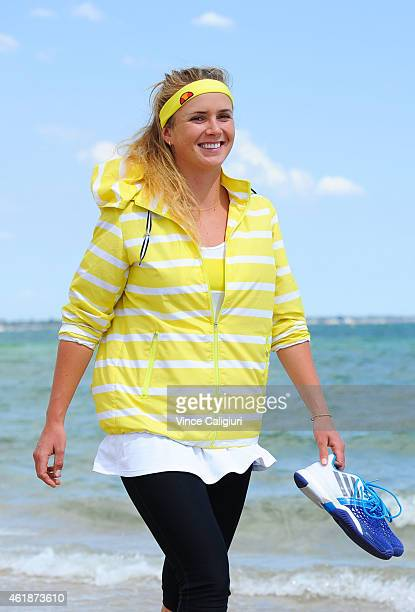 Elina Svitolina of the Ukraine poses for a photo at Sth Melbourne beach during the 2015 Australian Open at Melbourne Park on January 21 2015 in...