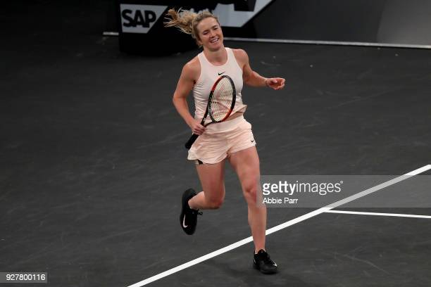 Elina Svitolina of the Ukraine reacts after defeating Shuai Zhang of China in the championship round of the Tie Break Tens at Madison Square Garden...