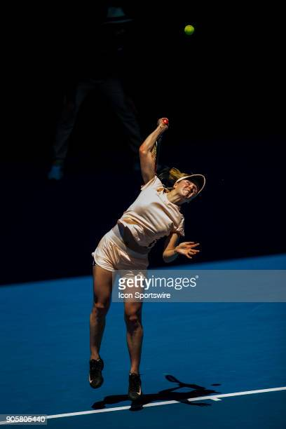 Elina Svitolina of the Ukraine serves in her Second Round match during the 2018 Australian Open on January 17 at Melbourne Park Tennis Centre in...
