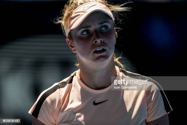 Elina Svitolina of the Ukraine walks back to her players bench in her Second Round match during the 2018 Australian Open on January 17 at Melbourne...