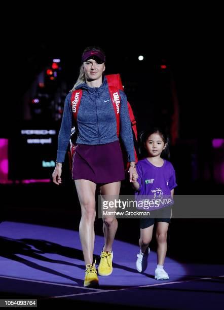 Elina Svitolina of the Ukraine walks onto the court prior to her match against Elina Svitolina of the Ukraine during the women's singles semi final...