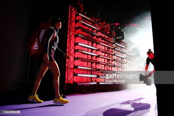 Elina Svitolina of the Ukraine walks onto the court prior to her match against Sloane Stephens of the United States during the Women's singles final...