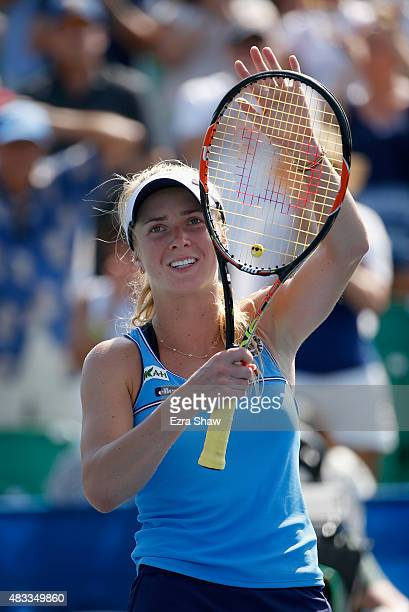 Elina Svitolina of the Ukraine waves to the crowd after beating Alison Riske of the United States during Day 5 of the Bank of the West Classic at...