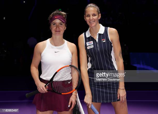Elina Svitolina of Ukraine and Karolina Pliskova of the Czech Republic pose for a photo prior to their Women's Singles match on Day Two of the 2019...