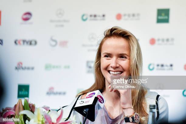 Elina Svitolina of Ukraine answers fans' questions during the preview day of the 2017 China Open at the China National Tennis Centre on September 29...