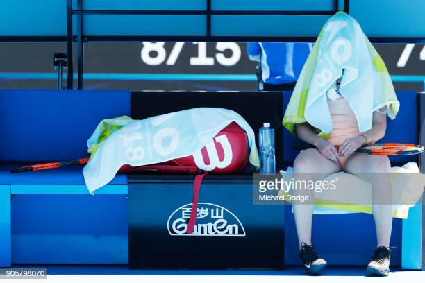 Elina Svitolina of Ukraine attempts to stay cool as she feels the heat in her second round match against Katerina Siniakova of the Czech Republic on...