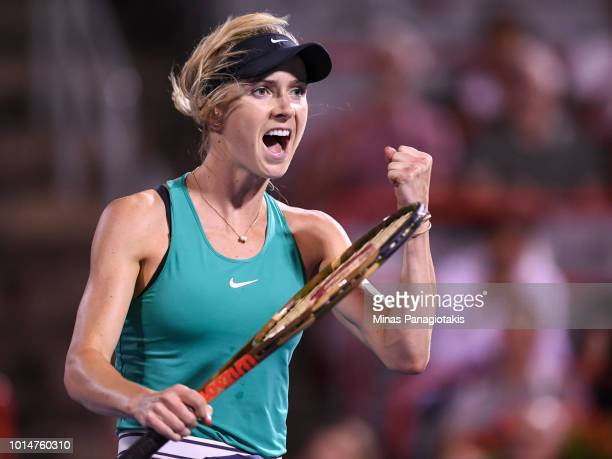 Elina Svitolina of Ukraine celebrates a 75 63 victory over Elise Mertens of Belgium during day five of the Rogers Cup at IGA Stadium on August 10...