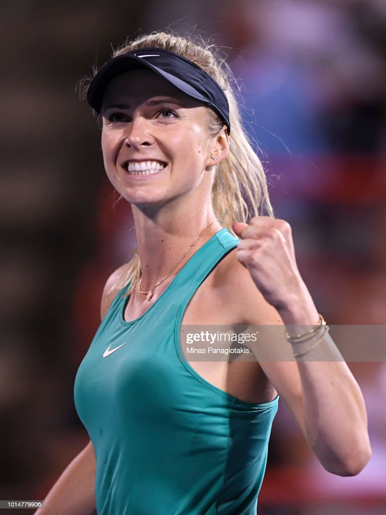 Elina Svitolina of Ukraine celebrates a 7-5, 6-3 victory over Elise Mertens of Belgium during day five of the Rogers Cup at IGA Stadium on August 10, 2018 in Montreal, Quebec, Canada.