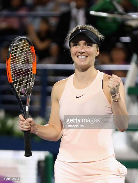 Elina Svitolina of Ukraine celebrates after defeating Daria Kasatkina of Russia during the Women's Singles Final match day six of the of the WTA...