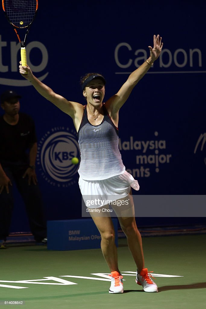 Elina Svitolina of Ukraine celebrates after she defeated Eugenie Bouchard of Canada during the Singles Final of the 2016 BMW Malaysian Open at Kuala Lumpur Golf & Country Club on March 6, 2016 in Kuala Lumpur, Malaysia.
