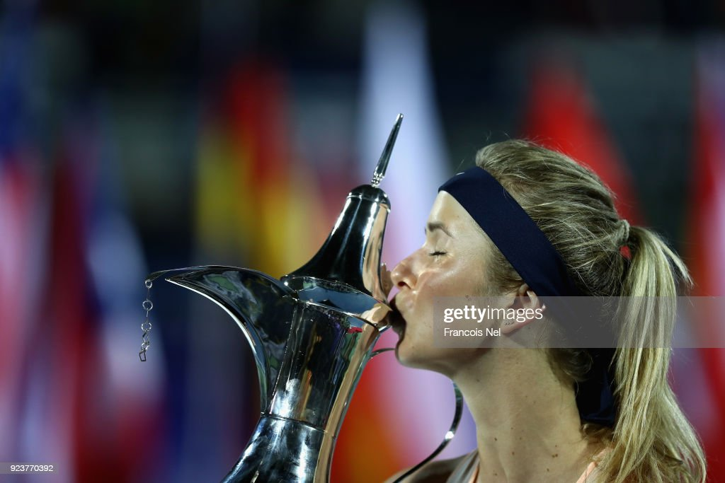 Elina Svitolina of Ukraine celebrates after vinning the WTA Dubai Duty Free Tennis Championship at the Dubai Duty Free Stadium on February 24, 2018 in Dubai, United Arab Emirates.