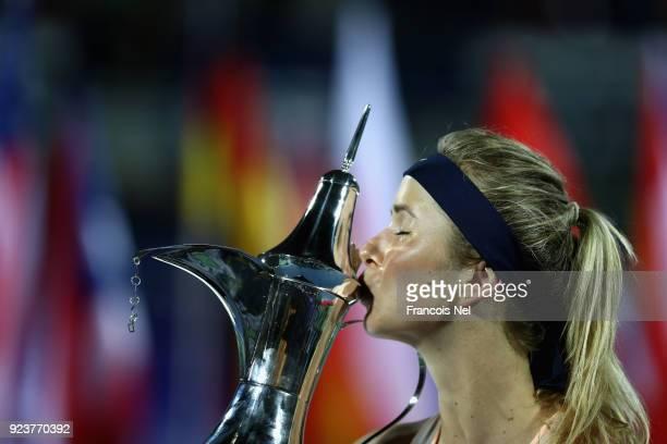 Elina Svitolina of Ukraine celebrates after vinning the WTA Dubai Duty Free Tennis Championship at the Dubai Duty Free Stadium on February 24 2018 in...