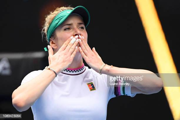 Elina Svitolina of Ukraine celebrates after winning match point in her second round match against Viktoria Kuzmova of Slovakia during day four of the...