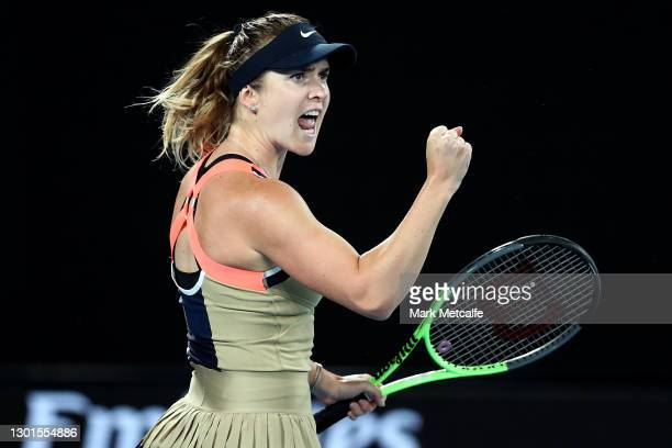 Elina Svitolina of Ukraine celebrates after winning the first set in her Women's Singles second round match against Coco Gauff of the United States...