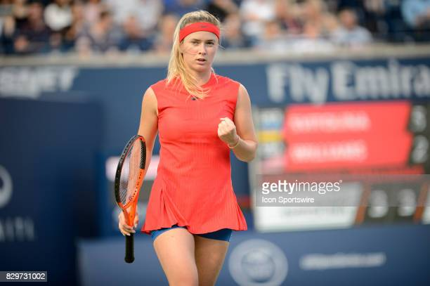 Elina Svitolina of Ukraine celebrates after winning the first set during her third round match of the 2017 Rogers Cup tennis tournament on August 9...