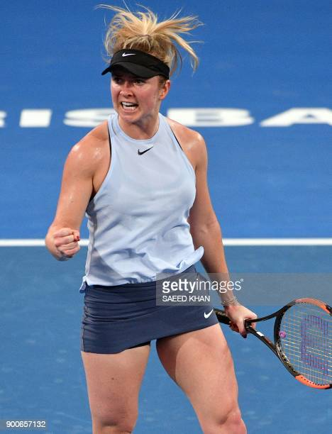Elina Svitolina of Ukraine celebrates after winning the first set against Ana Konjuh of Croatia during their round of 16 match at the Brisbane...