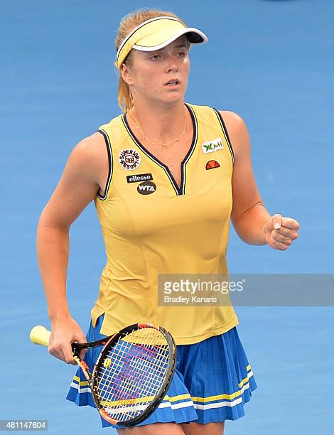 Elina Svitolina of Ukraine celebrates after winning the second set in her match against Angelique Kerber of Germany during day five of the 2015...